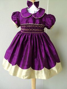 Girls smocked dupioni silk dress w/scalloped hem ruffle by gavella