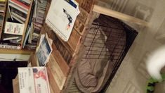 Completed pallet table used to cover or hide the dog crate. Xxl Dog Crate, Home Hacks, Crates, Pallet, Home Appliances, Pets, Cover, House, House Appliances