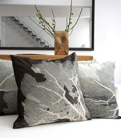 Aviva Stanoff sea fan pillows: my absolute favorite pillow designer--too bad I can't afford her pillows!