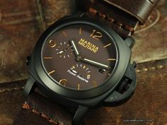 44MM  Parnis Mini Fiddy Case Brown  Automatic Power Reserve Watch