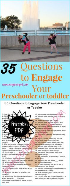 35 Questions to Engage Your Preschooler or Toddler - 35 questions to ask your preschooler or toddler to engage and listen to their hearts also review of 8 Simple Tools for Raising Great Kids. And bonus! There is also a discount code to get 50% off the book! #8SimpleTools #FlyBy