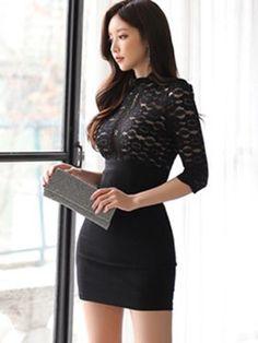 Tidebuy Lace Top Bodycon Women's Dress