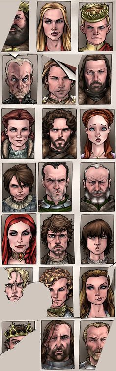 Game of Thrones character sketches. The first thing when looking at this is to point out each character name, then whether they are dead.... yet