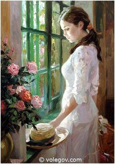"""Vladimir Volegov At house of Monet in Giverny, Normandy.. """"Waiting"""" 92x73 cm, oil on canvas, 2006 #monet #giverny #painting"""