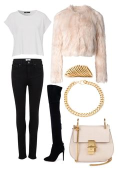 """""""Lovley pink fashion"""" by diamondanna ❤ liked on Polyvore featuring Aquazzura, Paige Denim, RED Valentino, Chloé, Alessandra Rich and Shaun Leane"""
