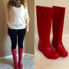 "Red Knee High Buckle Rain Boots Available in whole sizes only. Sold out in size 7 & 8. Please comment your size when purchasing. 6-10. buckle decor on shaft. Cushioned insole and easy pull on style. Material: Rubber (man-made) Sole: Rubber Measurement Heel Height: 1.25"" w/ 0.5"" Platform (approx) Shaft Length: 15.75"" (including heel) Top Opening Circumference: 15"" (approx) No Paypal. No trades. 10% discount on all bundles made with the bundle feature. No offers will be considered unless you…"