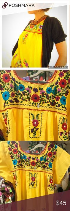 New Embroidered Mexican Mini Dress Yellow Small New mini Mexican dress embroidered 100% by hand, super cute colors! Yellow fabric and colorful embroidery. Short lenght, short sleeves, Size Small. Ethnic boho style! Cielito Lindo  Dresses Mini
