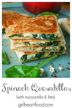 Spinach Quesadilla, Vegetarian Quesadilla, Cheese Quesadilla Recipe, Vegetarian Wraps, Vegetarian Recipes, Cooking Recipes, Healthy Recipes, Vegetarian Mexican, Salads