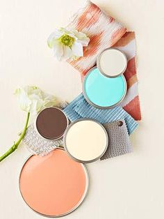 interior color palette from top to bottom in colorevolution colors: Champage E0143, Blue Bird E0034, Ox E0150, Whisper E0132, Pink Grapefruit E0088