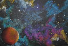 MaryMaking: Inspirations from Hubble – Galaxy Art Chalk Pastel Art, Chalk Pastels, Chalk Art, Galaxy Painting, Galaxy Art, 6th Grade Art, School Art Projects, Art Lessons Elementary, To Infinity And Beyond
