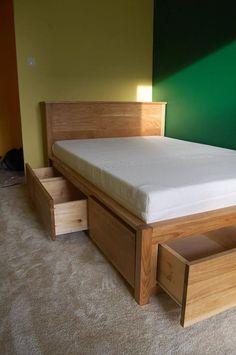 Oak Bed Frame, Custom Bed Frame, Bed Frame With Drawers, Bed Frame With Storage, Wooden Bed Frames, Cool Bed Frames, Platform Bed With Drawers, Storage Beds, Wood Bed Design