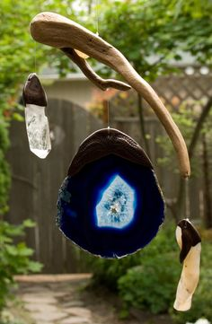 Driftwood sun catcher / mobile with agates and by WoodintheWind, $54.00