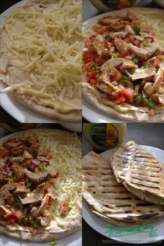 Quesadilla cu Pui si Cascaval Romanian Food, Romanian Recipes, Quesadilla, Empanadas, Halloween, Cookie Recipes, Hamburger, Bacon, Sandwiches