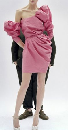 Alber Elbaz and His Pink Lanvin Dress for Vanity Fair 2009