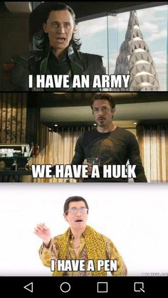 Funny PPAP Memes About Army vs. Piko Taro - Funny Superhero - Funny Superhero funny meme - - Funny PPAP Memes About Army vs. Piko Taro The post Funny PPAP Memes About Army vs. Piko Taro appeared first on Gag Dad. Avengers Humor, Marvel Jokes, Marvel Avengers, Funny Marvel Memes, Dc Memes, Funny Comics, Funny Superhero Memes, Loki Meme, Avengers Quotes