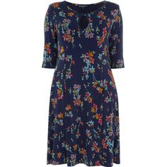 Evans Plus Size Floral Fit & Flare Dress (€18) ❤ liked on Polyvore featuring plus size women's fashion, plus size clothing, plus size dresses, dresses, black, clearance, fit-and-flare midi dresses, floral midi dress, midi skater dress and plus size skater dress