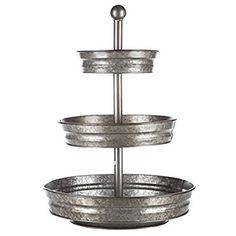 Amazon.com: 1 x 3 Tier Galvanized Round Metal Stand Outdoor Indoor Serveware: Kitchen & Dining