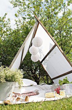 Build your own garden tent. Step by step is here: http://mariefriis.blogspot.no/2012/06/10-pinner-28-skruer-en-duk-og-fire.html