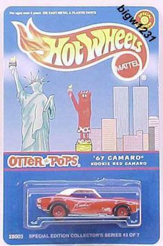 Hot Wheels Otter Pops Kookie Red Camaro   With twin towers on card in background