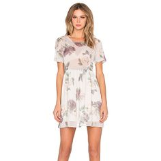 ANINE BING Loose Fit Floral Dress Dresses ($140) ❤ liked on Polyvore featuring women's fashion, dresses, loose fitting dresses, loose fitted dresses, loose fit dress, anine bing and botanical dress