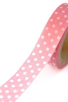 1 Roll of Bubblegum Pink and White Polka Dot Masking Tape / Japanese Washi Tape (.60 inches x 33 feet). $4.00, via Etsy.