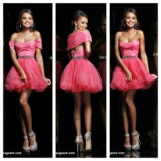 Coral/pink babydoll Sherri Hill dress with crystaled princess waistline, tulle skirt, and detachable should shrug! Prom dress
