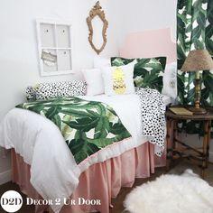 Palm Leaf & Pastel Pink Designer Dorm Bedding Set awesome tropical college dorm room for girls Dorm room decor #greenroom