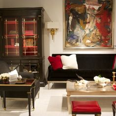 Interior design inspiration delivered in high drama black and red from the Mary McDonald furniture collection for Chaddock.