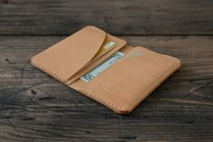 GRAMS28  /  Four Pocket Card Leather DAY WALLET - hand stitched leather wallet leather card holder - Natural