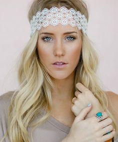 White Circle Crochet Lace Headband. So pretty for summer!