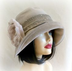Vintage Inspired Cloche Hat, Ladies, Big Brim, Stone Velour, Chiffon Flower Embellishment, Choose Your Size