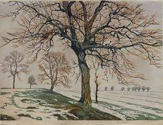 ✨ Paul Leschhorn (1876-1951) - Wintersonne, Farb-Holzschnitt, rechts unten signiert, links unten betitelt ::: Winter Sun, Colour Woodcut, 34 x 45 cm
