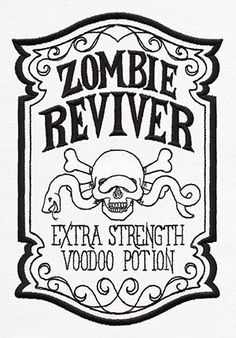 "Turn your home into a spooky apothecary with this ""Zombie Reviver"" design. Light, open, and full of creepy detail, it'll be wonderful on tea towels, throw pillows, totes, and more."