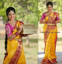 Mustard Bridal Saree with Work Blouse   Saree Blouse Patterns