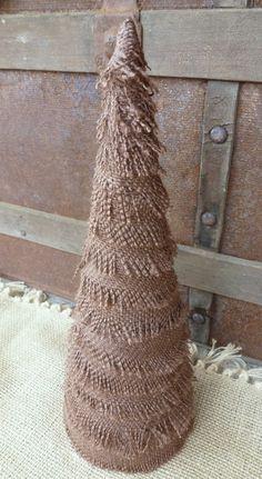 """13 3/4"""" Rustic Brown Burlap Christmas Tree"""