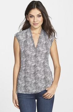 Vince+Camuto+'Starlight+Dots'+Cap+Sleeve+Pleated+V-Neck+Top+available+at+#Nordstrom