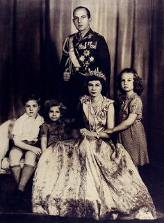 King Paul, Queen Frederica, and their children Queen Sofía of Spain, King Constantin II, and Princess Irene