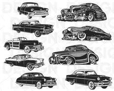 old classic retro car svf bundle, vehicle svg, hot rod svg, auto svg, vintage svg files for cricut s Retro Cars, Vintage Cars, Stencil Vinyl, Chrysler Pacifica, Unique Cars, Svg Files For Cricut, Old Cars, Hot Rods, Classic Cars