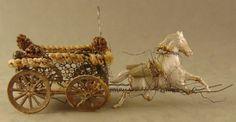"""Circa 1900 Antique German Sebnitz Christmas Ornament #9 """"DRESDEN HORSE & CART"""""""