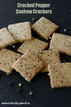 Grain Free Cracked Pepper Cashew Crackers Recipe www.kateshealthycupboard.com