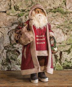 Buffalo Check Coat Santa Statue #zulily #zulilyfinds