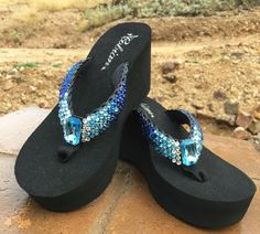 a45791fc007818 Aqua Blue Faded Ombre  Rockstar Swarovski Crystal Flip-flops Sandals by Sparkle  Steps Indigo