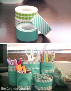 kokokoKIDS: Tin Cans Crafts Ideas. There are so many fun colored tapes out there now, I dont think Ill ever throw away another tin can! Great recycle ideas - I think the site is in russian, but the pictures are amazing.