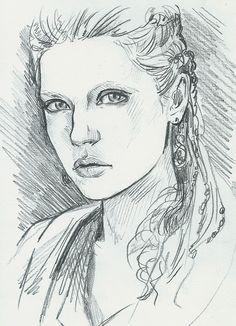 illustration, fantasy, девушка, sketch, карандаш, caricature, графика, чёрно-белое, лагерта, викинги
