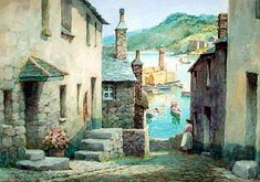 Antique Watercolour Picture of the Bethesda Steps, St. Ives, Cornwall, England ~ Artist: Frederick Parr ~ (1880-1920) St Ives Cornwall, Cornwall England, English Village, English Cottages, Watercolor Pictures, Watercolour Art, Scilly Isles, Art Paintings, Painting Prints