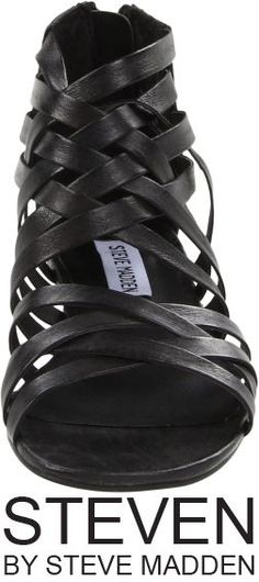 """Steven by Steve Madden """"Tassal"""" Black Leather Gladiator Sandal, retails at $79.95: Feel free as a bird in the grecian inspired ankle height sandals. Leather upper, Back zip closure, Eye-catching stud tassel accents, Man-made lining, Lightly padded footbed."""