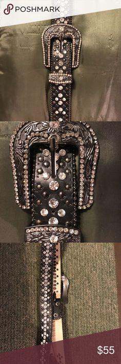 Rhinestone Belt and Belt Buckle Genuine leather belt covered with rhinestones and a rhinestone covered belt buckle. It is gorgeous.  It is burnt orange  Size M/L 36-38 Never been worn Accessories Belts