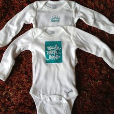 Heat transfer cut using my Cameo with purchased patterns. Baby gift onesie's.