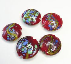 5 HANDPAINTED LAMPWORK Beads by CoseBelleByMaria on Etsy