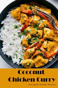 Coconut Chicken CurryThis coconut chicken curry is packed with delicious flavors. - Coconut Chicken CurryThis coconut chicken curry is packed with delicious flavors and an easy one po - Indian Food Recipes, Asian Recipes, Healthy Recipes, Thai Curry Recipes, Rice Recipes, Jai Faim, Easy One Pot Meals, Curry Dishes, Recipes